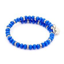 Chrysalis Rhodium Plated Silver Spring Blue Wrap Bracelet - CRBW0009SPBLUE