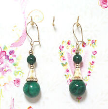 Malachite With 14K Gold Earrings. 1.75 Inches Long. MC14K003