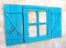ventana de madera con postigos o contraventanas, azul ,mod. cruz vintage