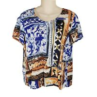 CHICOS 2 Large L Top Short Sleeve Shirt Multicolored Patterned Vneck Tee CH4