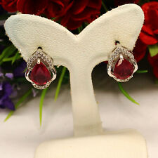NATURAL 7 X 9 mm. PEAR CABOCHON RED RUBY & WHITE CZ EARRINGS 925 STERLING SILVER