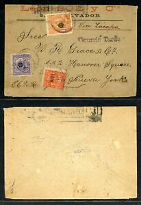 EL SALVADOR Postal History: Lot #10 1900 18c Via Zacapa LATE Cover to NYC $$$$