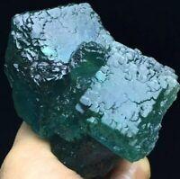 180g Transparent Deep Blue/Green Cubic Ladder Fluorite Crystal Mineral Specimen