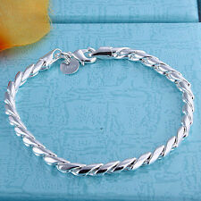 Fashion 925Sterling Silver Wrested Rope Unisex Chain Bracelet FH210+BOX