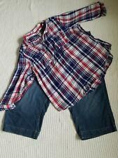 Women's Summer Outfit:20W Denim Capri :2X Sapphire Blue Check Button Blouse