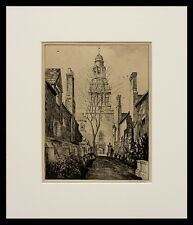 """Frederick Polley """"Pierson College"""" 12""""x9"""" etching, signed"""