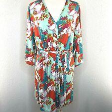 Josie Natori Womens Green Orange Floral Print Robe Large Intimates Sleepwear