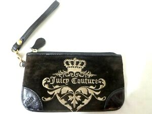 JUICY COUTURE BROWN VELOUR W/LEATHER & HEART CREDIT CARD WRISLET WALLET PURSE