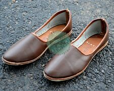 Handmade Camel Leather Jutti Men Mojari Brown Khussa Shoe Indian Shoe US 10