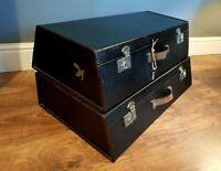 Handmade Vintage Pair Of Motoring Trunks  in Black with Chrome locks- Very Rare!