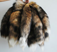 1PC Genuine Fox Tail Key Chain Fur Tassel Bag Tag Charm Keyring Chain Black