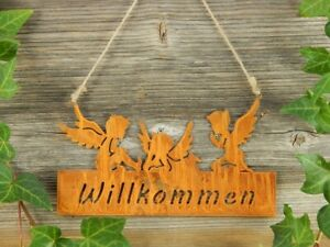 Engel Hänger Willkommen Rost Schild Türdeko Edelrost Wanddeko Fensterdeko Deko