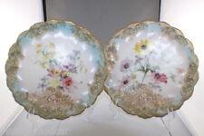 Antique Royal Doulton Burslem Set of 2 Scalloped Floral Plates 1890's to 1900's