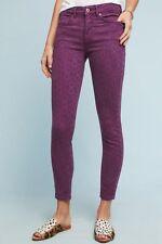 Anthropologie Pilcro High-Rise Skinny Jacquard Jeans Purple Script Size 28 New