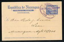 Nicaragua Postal Stationery PC H&G #54b 2c/6c LEON - MANAGUA $$$