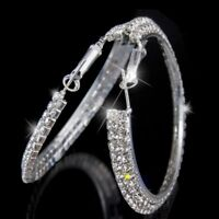 Fashion Big Hoop Earrings Silver Geometric Statement Women Lady Earrings Jewelry