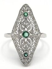 Ring Smaragd & Zirkonia   925 Sterling Silber  ANTIK STYLE   Ø 19.7 mm
