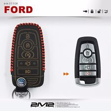 Leather Key fob Holder Case Chain Cover fit For FORD Smart Proxy F250 F350 F450