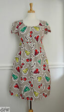hobbs dress 8 tunic fruit PRINT flax linen SUMMER vintage 50's SMOCK pockets