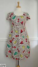 hobbs dress 8 tunic fruit PRINT flax linen SUMMER vintage 50's SMOCK pockets