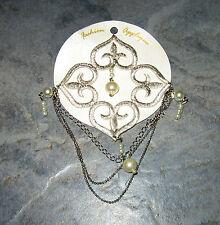 Silver Fleur De Les and Pearls Fashion Applique Iron On Design for shirts D-1