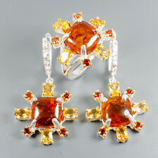 Handmade Natural Amber 925 Sterling Silver SET Ring Size 8.5/R110097