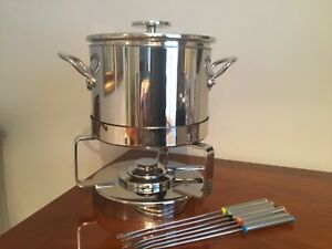 Mauviel Fondue Set Stainless Steel Used Once  with original box