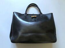 LONGCHAMP France Roseau 1681 051 001 Leather Tote Bag Hand Bag Black Medium