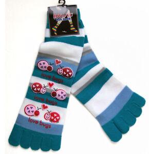 Love Bugs Plastic-Printed Cozy Striped Toe Socks Sz 9-11 Perfect Gift Cute