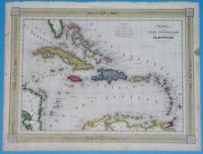 1848 NICE ORIGINAL MAP CARIBBEAN CUBA ANTILLES BAHAMAS FLORIDA TRINIDAD JAMAICA