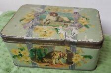 Vintage 1950s Tin Metal Dog Biscuit Box Humane Society Sir E Landseer St Bernard