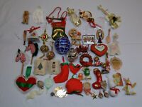 Christmas Holiday Ornament Vintage LOT Handmade & Store Bought OLD Bears Balls +