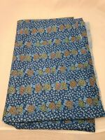 "Vintage Retro Shiny Knit Blue & Orange Flower Power Fabric 60"" 1 3/4 Yards"