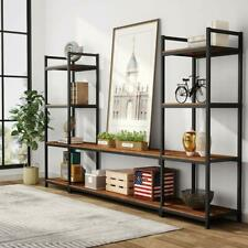 Rustic Oak TV Stand with Bookshelves Tribesigns Industrial Entertainment Center