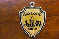 Vintage sterling silver GAYLORD MICHIGAN STATE ALPINE TRAVEL SHIELD charm #E33