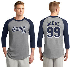 New York Yankees Aaron Judge 99 Men's or Youth 3/4 Sleeve Jersey Navy and White