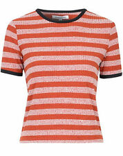 Crew Neck Hip Length Blouses Striped Tops & Shirts for Women