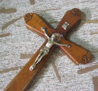 Religious christian crucifix wooden han dmade carved wall mount CROSS