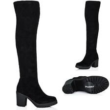 Unbranded Suede Block Over Knee Boots for Women