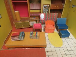 Vintage 1960's Barbie Dream House 11 Pcs Cardboard  Furniture TLC