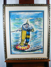 George Crionas Water Skiing Clown Watercolor Ink Original Painting Signed