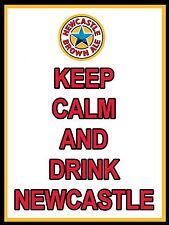 Keep Calm Y Bebida Newcastle Brown Ale signo de Aluminio de Metal Cerveza Bar Pub signos