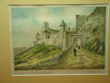 Jolie gravure Carcassonne, La porte d'Aude, BARDAY