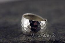 Silberring VINTAGE Breit Gehämmert Ring Silber 925 Verstellbar Damen Damenringe