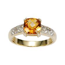 9k Yellow gold Stunning Diamond & Citrine Ring