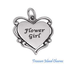 Flower Girl Engravable Heart 925 Solid Sterling Silver Charm Pendant Wedding