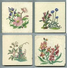 "4 Hand painted 4""sq floral tiles by Packard & Ord, c1940s"