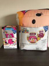 Disney Tsum Tsum Faces Twin/Full Reversible Comforter And 3 Piece Twin Sheet Set