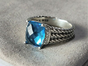 david yurman Blue Topaz petite wheaton diamonds ring size 7.5