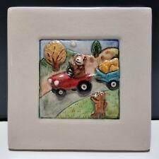 "Laura Wilensky 4x4"" Wall Tile / Plaque 2002 Limited Edition Pumpkin Wagon 20/100"